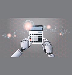 Robot accountant using calculator top angle view vector