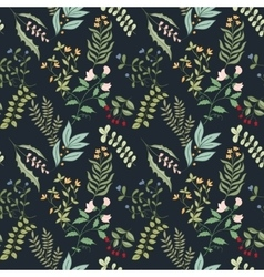 seamless pattern flowers herbs and leaves vector image