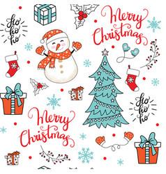 seamless pattern merry christmas congratulation vector image