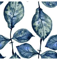 Seamless pattern with blue leaves vector