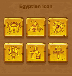 Set of design golden egypt travel icons vector