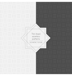 Set of geometric thin lined seamless patterns vector image