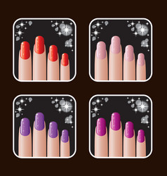 Set of icons of women manicure vector image