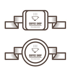 set vintage coffee badges and labels brown vector image