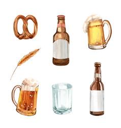 Set watercolor pretzel barley beer on white vector