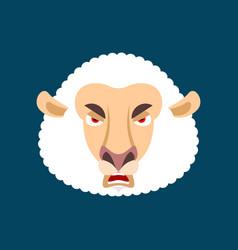 Sheep angry ewe evil emoji farm animal aggressive vector