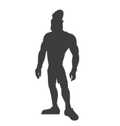 Silhouette healthy man athletic muscular vector