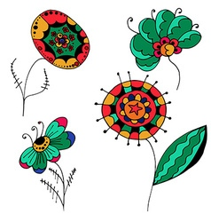 sketchy flowers vector image