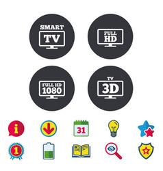 Smart tv mode icon 3d television symbol vector