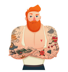 Tattooed man isolated figurine vector