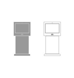 terminal stand with touch screen grey set icon vector image