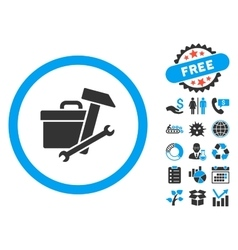 Toolbox Flat Icon with Bonus vector image