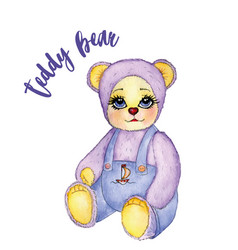 Toy baby bear cute pants watercolor vector