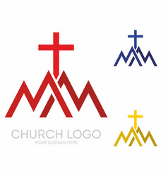 Triangles mountains the cross of jesus vector