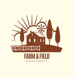 Vintage rural farm emblem with farm house vector
