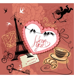 Vintage Valentines Day Postcard with Paris theme vector image