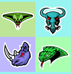 Viper bull rhino and cobra head logo set vector