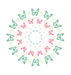 Vivid butterfly kaleidoscope mandala vector