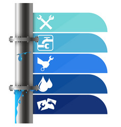 Water pipe with a crack plumbing vector