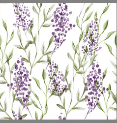 watercolor lavender flower seamless pattern vector image