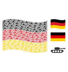 waving germany flag pattern of military tank icons vector image
