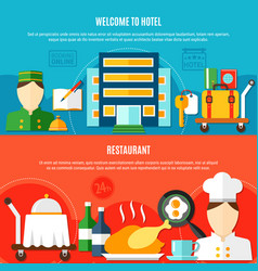Welcome to hotel horizontal banners vector