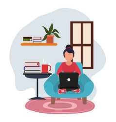 Working at home young woman using laptop table vector