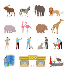 Zoo flat icons set vector