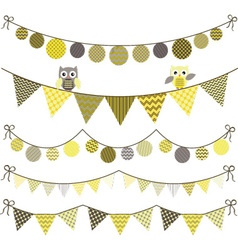 Bunting Owl Banner Party set vector image