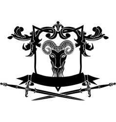 Fullface ram arms with sword vector image