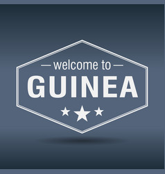 welcome to guinea hexagonal white vintage label vector image vector image