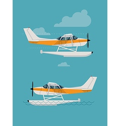 Amphibian Plane Flying and Landing on the Water vector image vector image