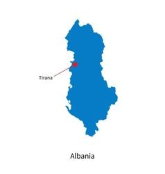 Detailed map of Albania and capital city Tirana vector image