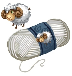 Sheep and roll of white wool thread vector image