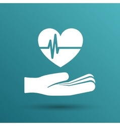 heart ecg in hand Icon abstract logo type vector image