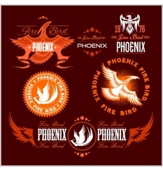 Phoenix - set of fire birds and flames logo vector image