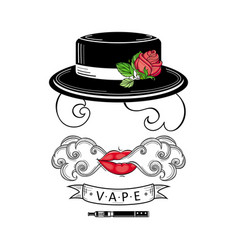 vape shop logo design with stylized smoking woman vector image vector image