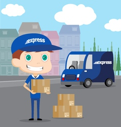 Express Man and his Truck vector image vector image