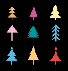 Set of different Christmas trees signs vector image vector image