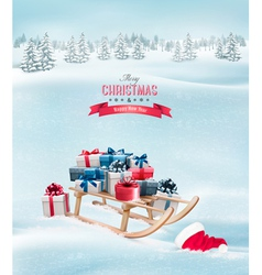 Winter background with Christmas presents on a vector image