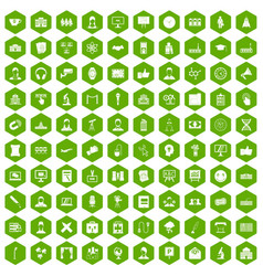 100 conference icons hexagon green vector