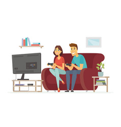 a couple resting in front of tv - cartoon people vector image