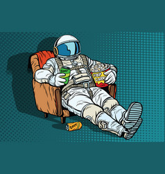 Astronaut the audience with beer and popcorn vector