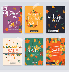Autumn sale website banners web template vector