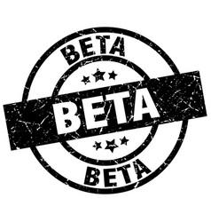 Beta round grunge black stamp vector