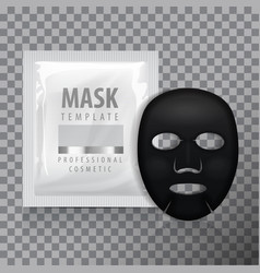 black facial sheet mask with sachet blank vector image