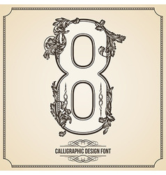 Calligraphic font Number 8 vector