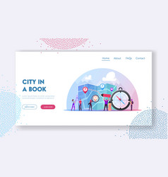 Cartography landing page template tiny characters vector