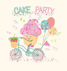 cartoon cake and berry on bike vector image