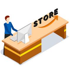 Cashier counter with employee giving convenience vector